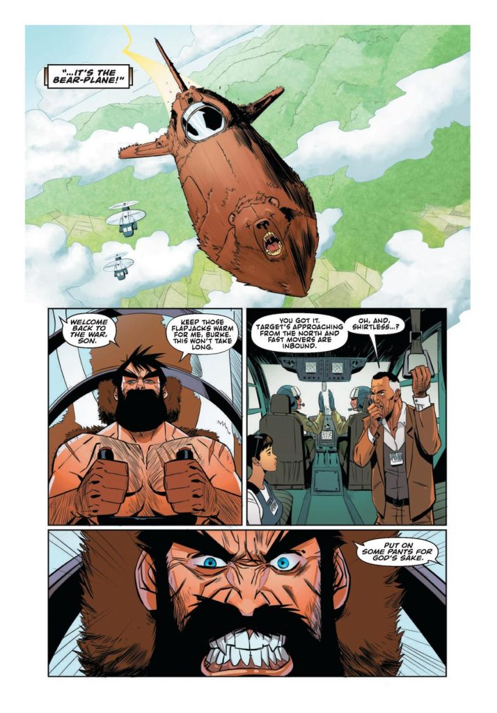 Interior page to 'Shirtless Bear-Fighter!'. Art by Nil Vendrell Pallach and Michael Spicer/Image Comics