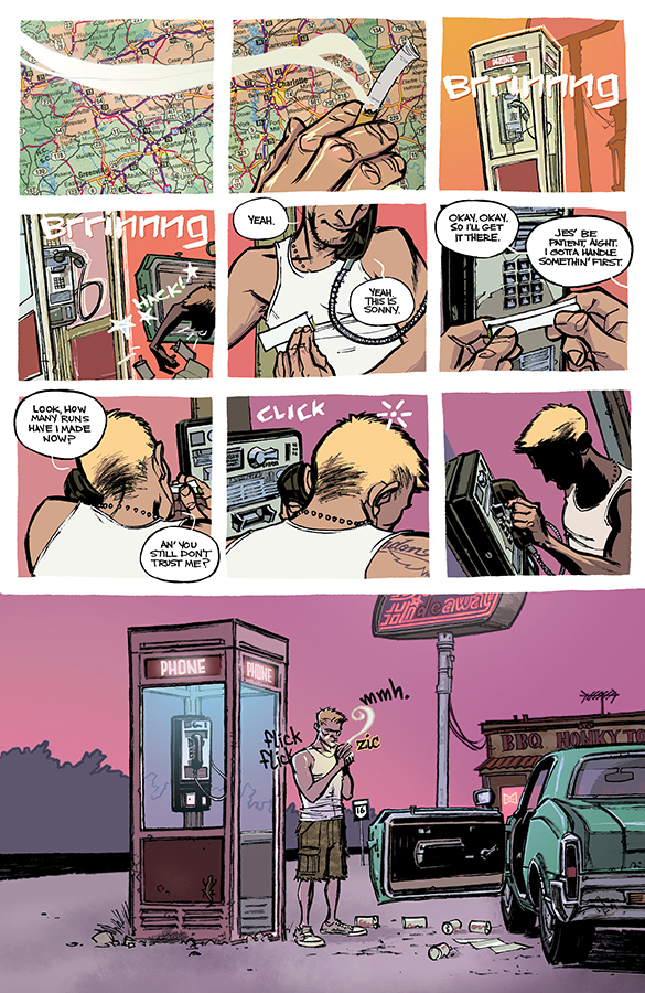 Interior page to 'Loose Ends' TPB. Art by Chris Brunner and Rico Renzi/Image Comics
