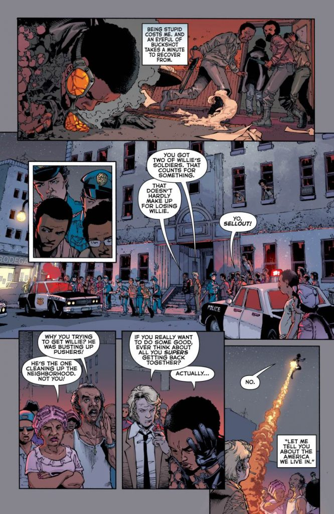 Interior page to 'The American Way: Those Above and Those Below' #1. Art by Georges Jeanty and Danny Miki/Vertigo/DC Comics
