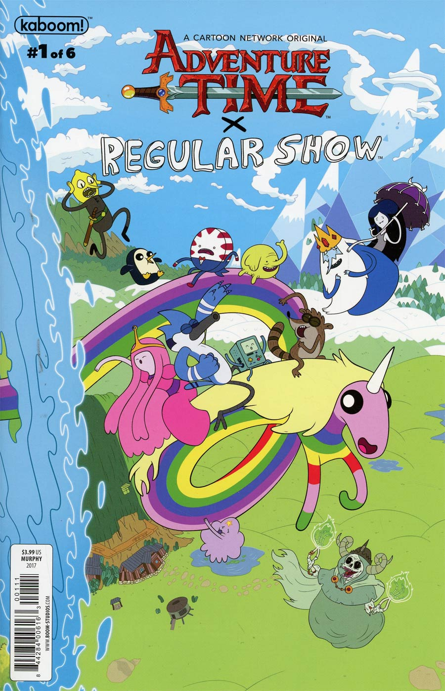 Cover to 'Adventure Time/Regular Show' #1. Art by Mattia Di Meo and Joana Lafuente/BOOM! Studios