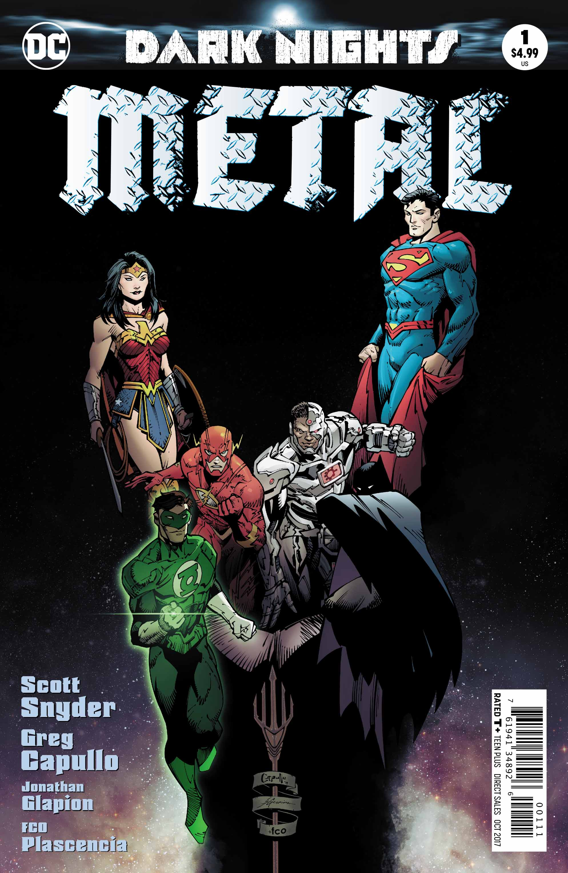 Cover to 'Dark Nights: Metal' #1. Art by Greg Capullo, Jonathan Glapion, and FCO Plascencia/DC Comics