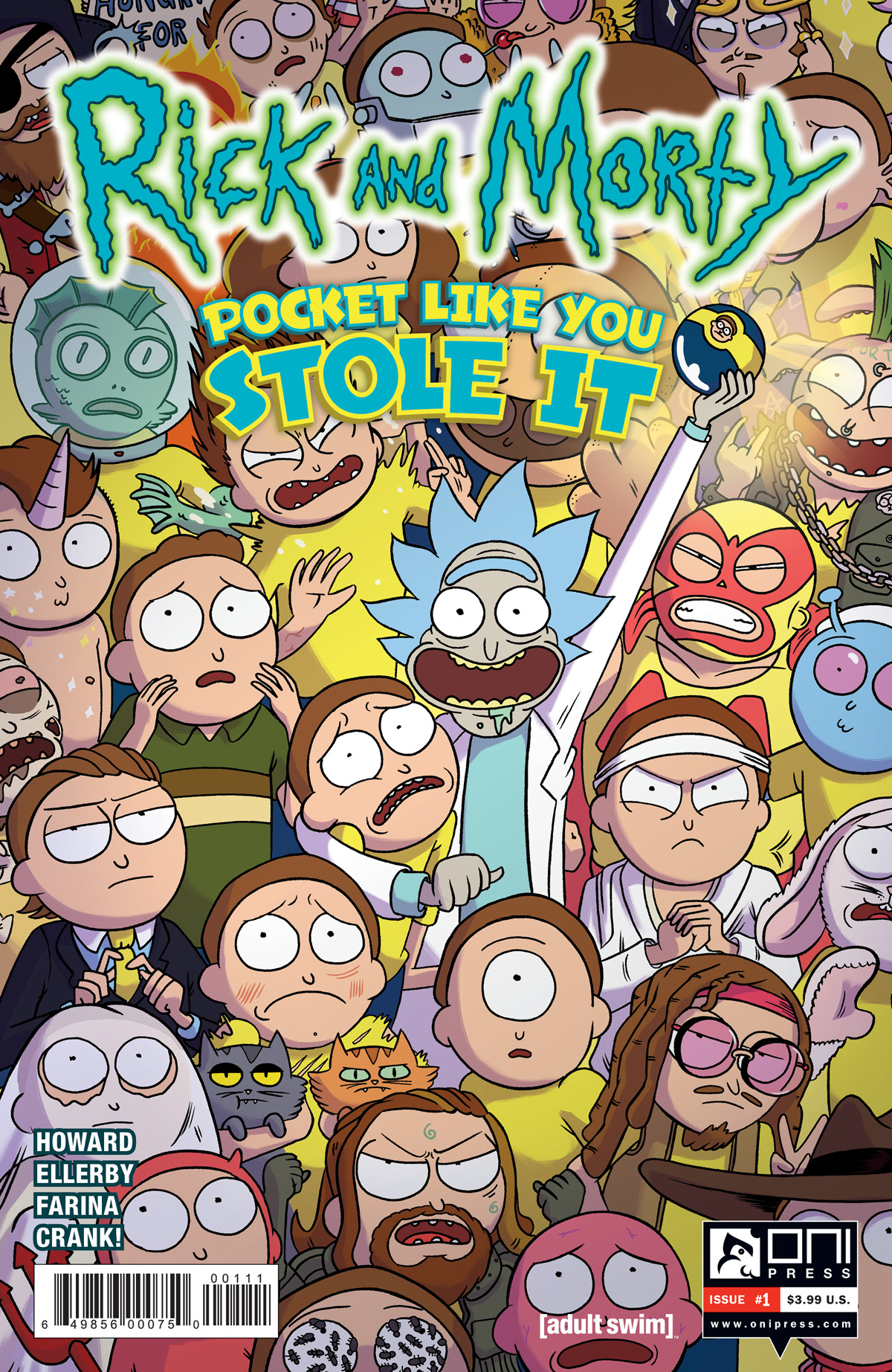 Cover to 'Rick and Morty: Pocket Like You Stole It' #1. Art by Marc Ellerby and Katy Farina/Oni Press