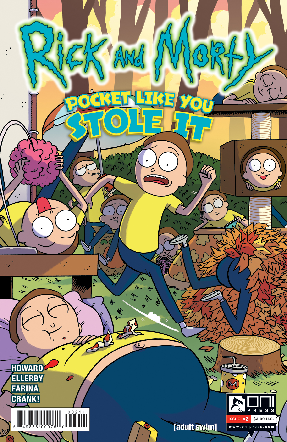 Cover to 'Rick and Morty: Pocket Like You Stole It' #2. Art by Marc Ellerby and Katy Farina/Oni Press