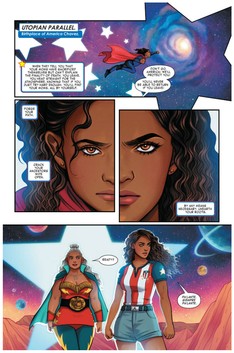 Interior page from 'America' #7. Art by Jen Bartel/Marvel Comics