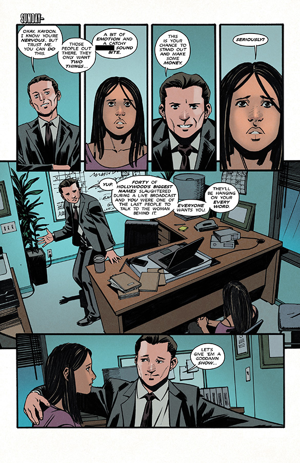 Interior page to 'Glitterbomb: The Fame Game' #1. Art by Djibril Morissette-Phan and K. Michael Russell/Image Comics