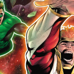GL's in hot pursuit of a speedster god in 'Hal Jordan and the Green Lantern Corps' #28