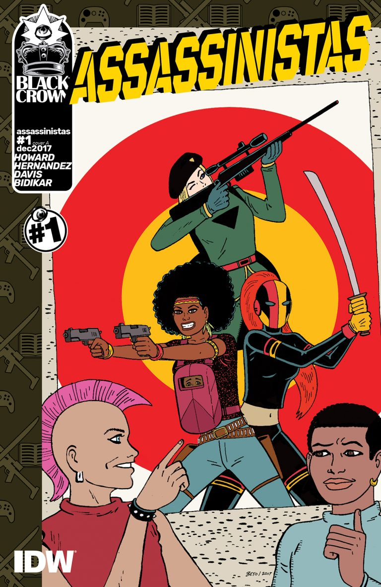 Cover to 'Assassinistas' #1. Art by Gilbert Hernandez/Black Crown/IDW