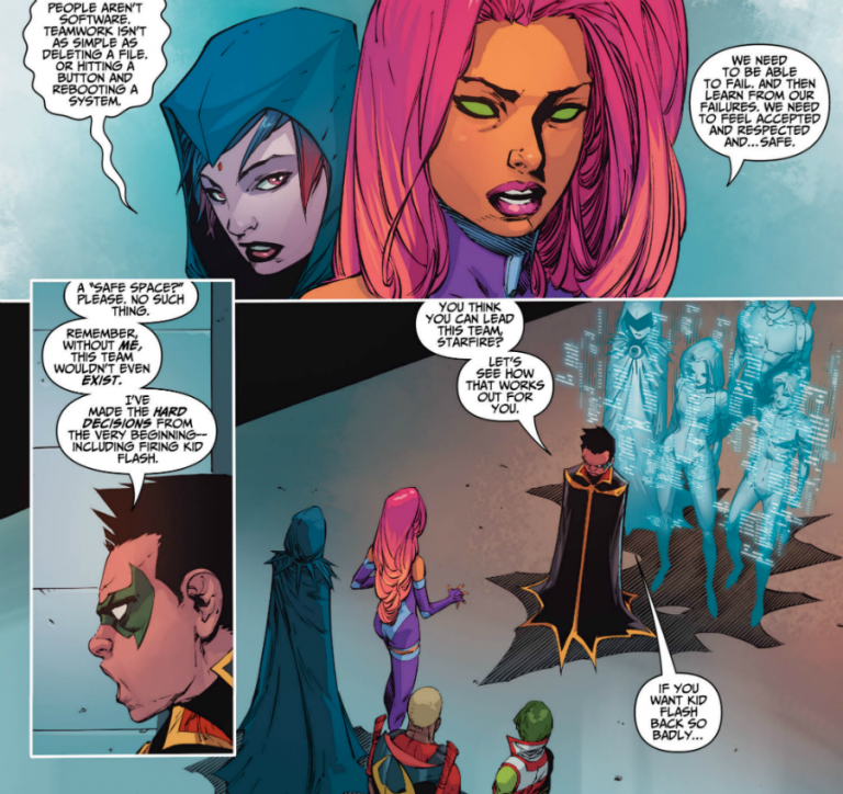 Interior panels from 'Teen Titans' #13. Art by Khoi Pham, Trevor Scott, Jim Charalampidis, and Corey Breen/DC Comics