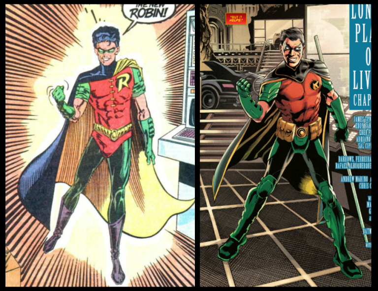 From left to right: Interior panel from 'Batman' #457, art by Norm Breyfogle, Steve Mitchell, and Adrienne Roy; interior panel from 'Detective Comics' #965, art by Eddy Barrows, Eber Ferreira, and Adriano Lucas/DC Comics