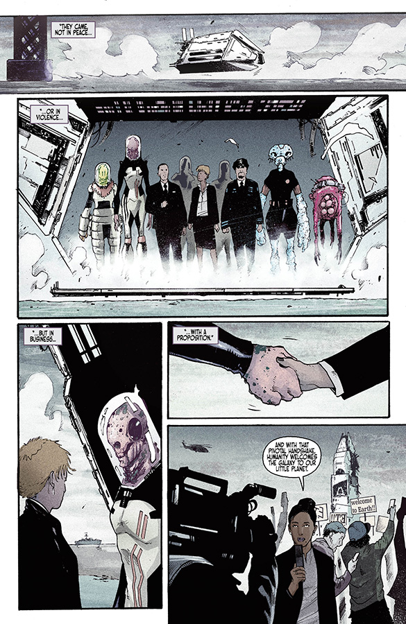 Interior page from 'Port of Earth' #1. Art by Andrea Mutti, Vladimir Popov and Troy Peteri/Image Comics