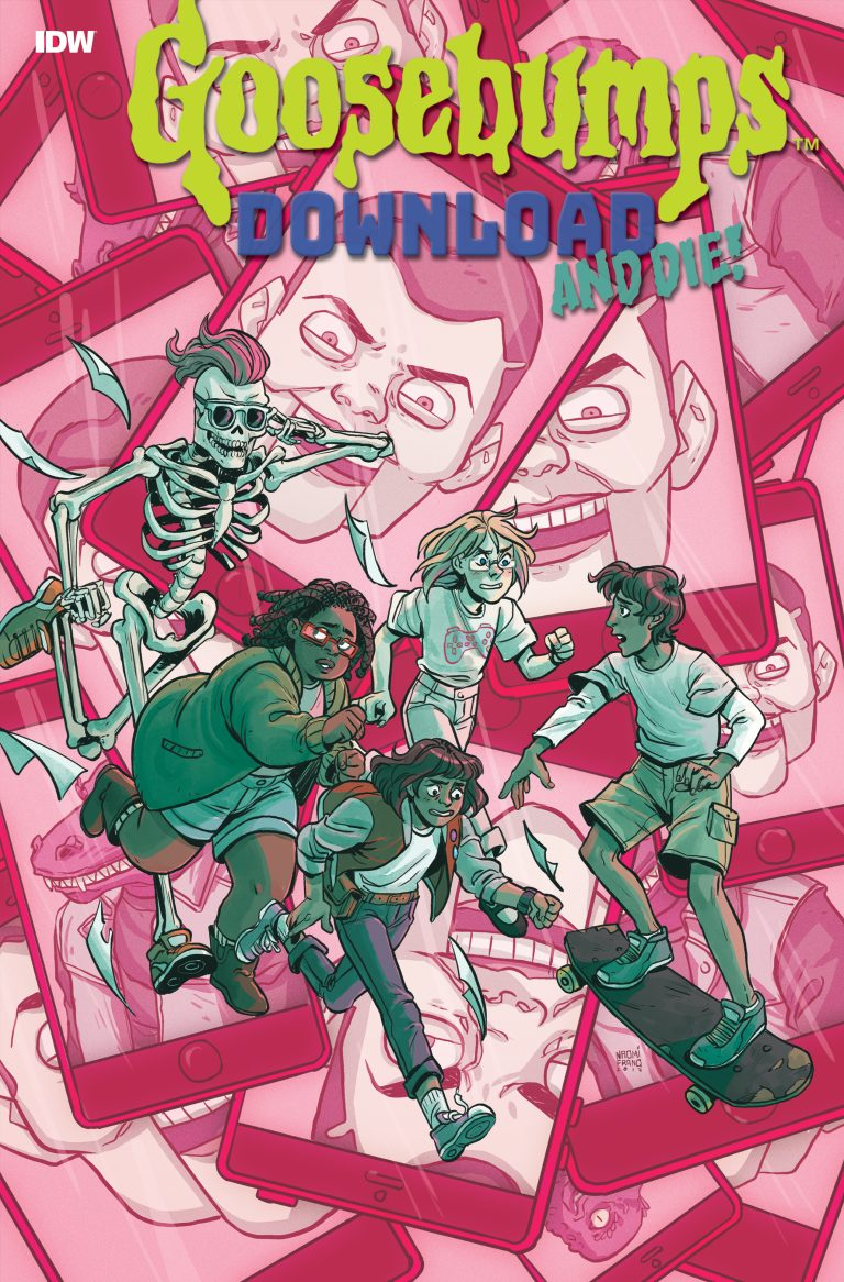 Cover to 'Goosebumps: Download and Die!' #1. Cover B by Naomi Franquiz/IDW Publishing