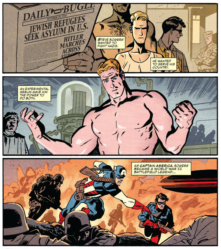 Interior panels from 'Captain America' #695. Art by Chris Samnee, Matt Wilson, and Joe Caramagna/Marvel Comics
