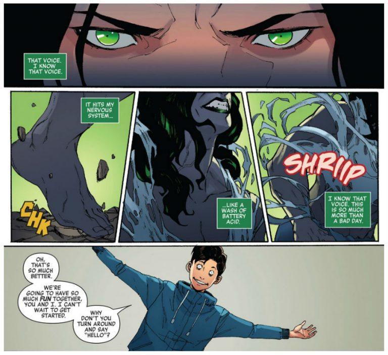 Interior panels from 'She-Hulk' #159. Art by Jahnoy Lindsay, Federico Blee, Chris Sotomayor, and Travis Lanham