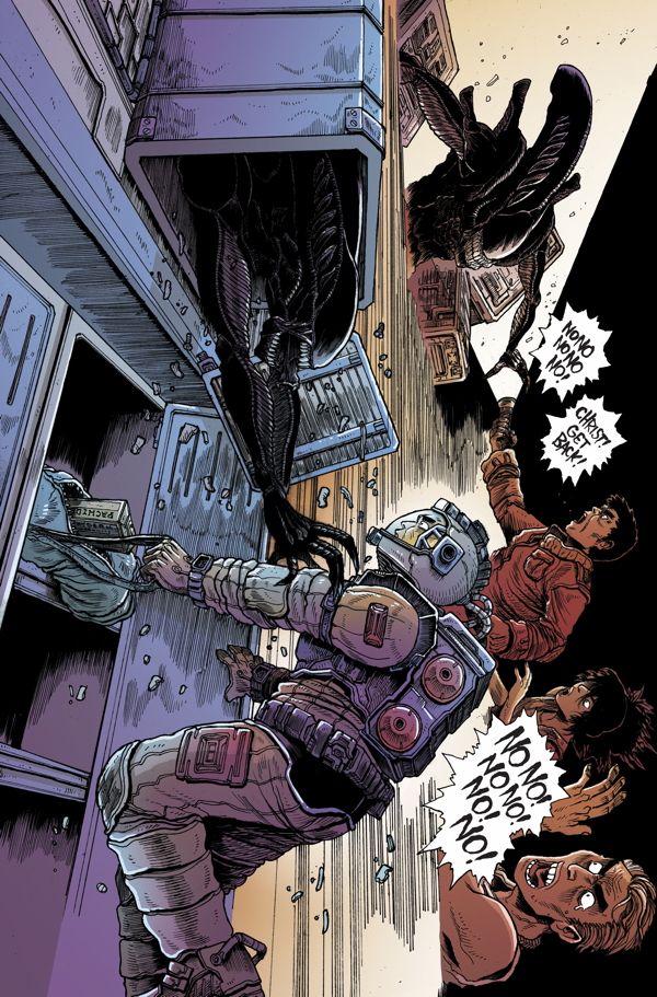 Interior page from 'Aliens: Dead Orbit' #4. Art by James Stokoe/Dark Horse Comics