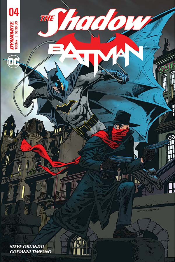 Cover to 'The Shadow/Batman' #4. Art by Kevin Nowlan/Dynamite