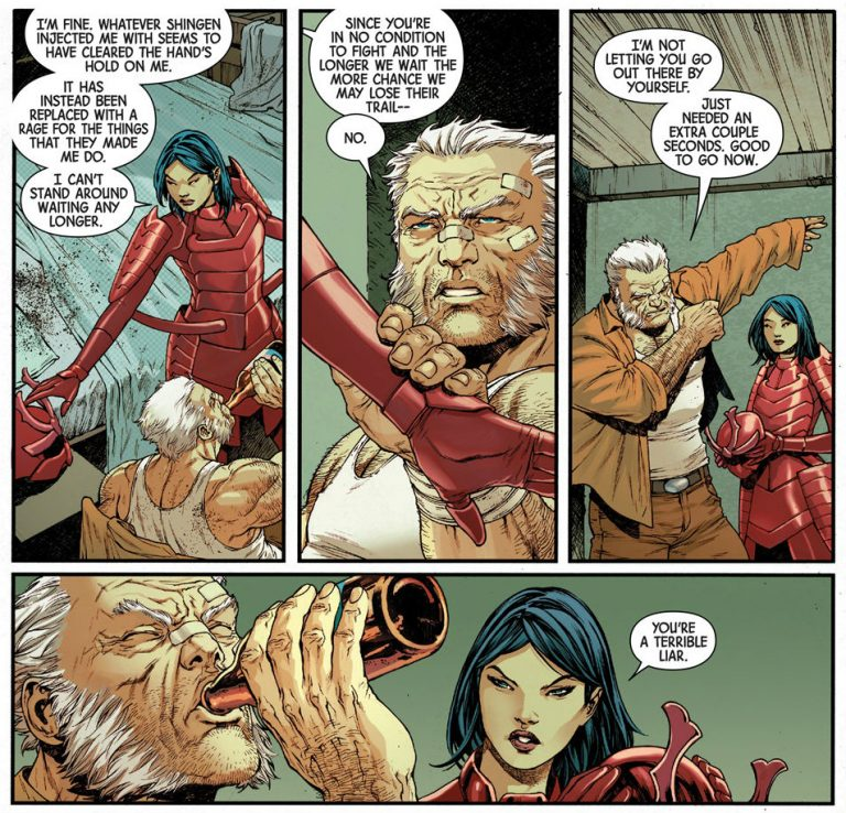 Interior panels from 'Old Man Logan' #34. Art by Ibraim Roberson, Carlos Lopez, and Cory Petit/Marvel Comics