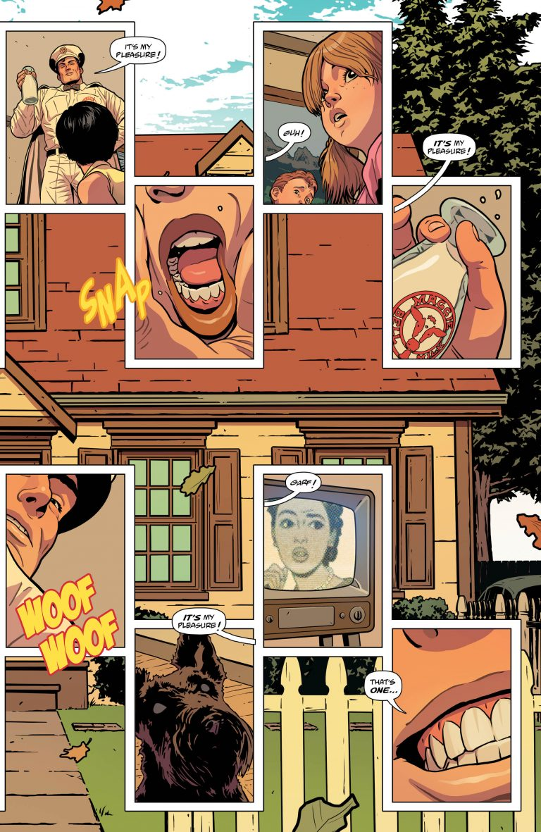 Interior pages from 'JLA/Doom Patrol Special' #1. Art by ACO, Tamra Bonvillain, Marissa Louise, and Todd Klein/DC Comics/DC's Young Animal