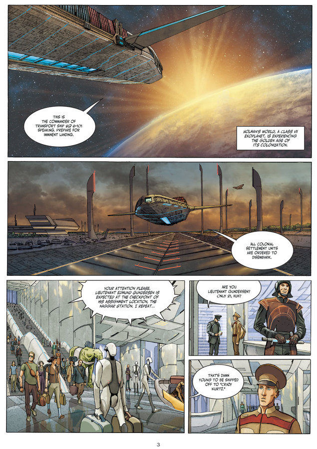 Interior page from 'Downward to the Earth'. Art by Laura Zuccheri and Silvia Fabris/Humanoids