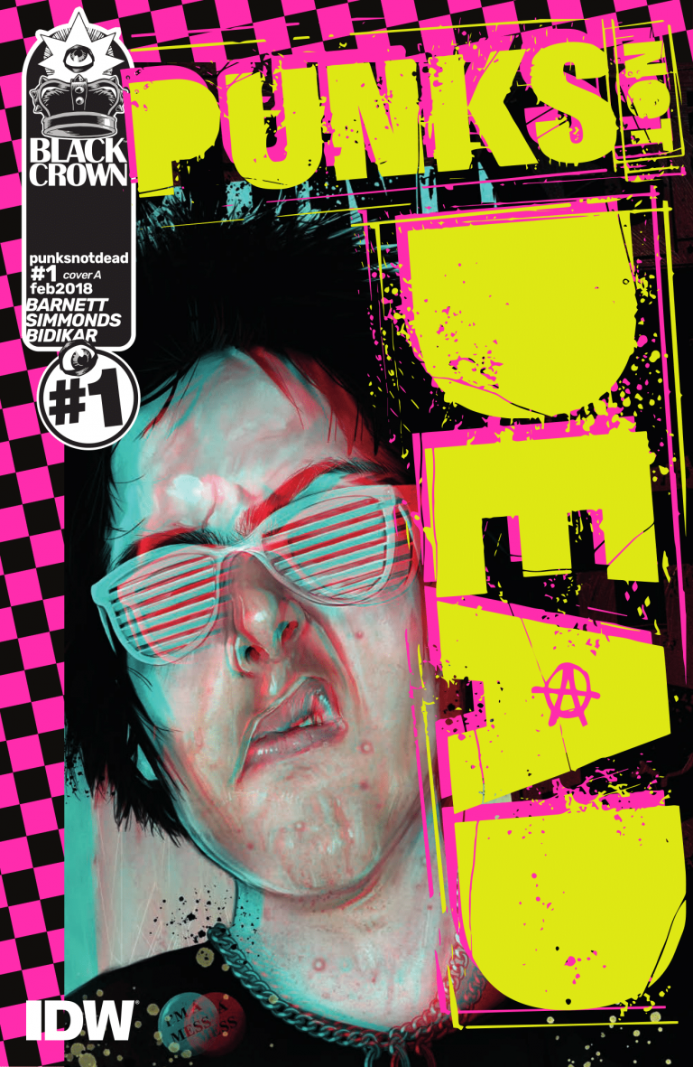 Cover to 'Punks Not Dead' #1. Art by Martin Simmonds/Black Crown/IDW Publishing