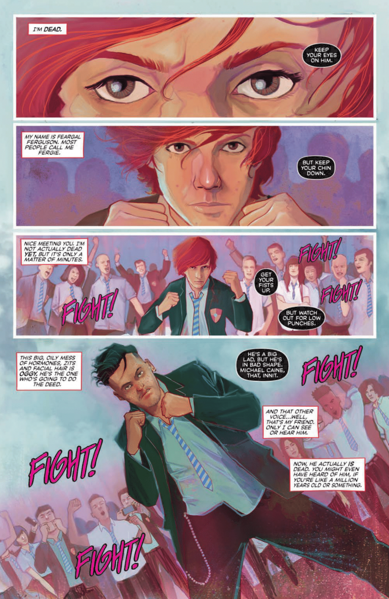 Interior page from 'Punks Not Dead' #1. Art by Martin Simmonds, Dee Cunniffe, and Aditya Bidikar/Black Crown/IDW Publishing