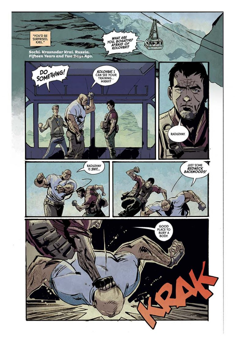 Interior pages from 'Crude' #1. Art by Garry Brown, Lee Loughridge, and Thomas Mauer/Image Comics/Skybound