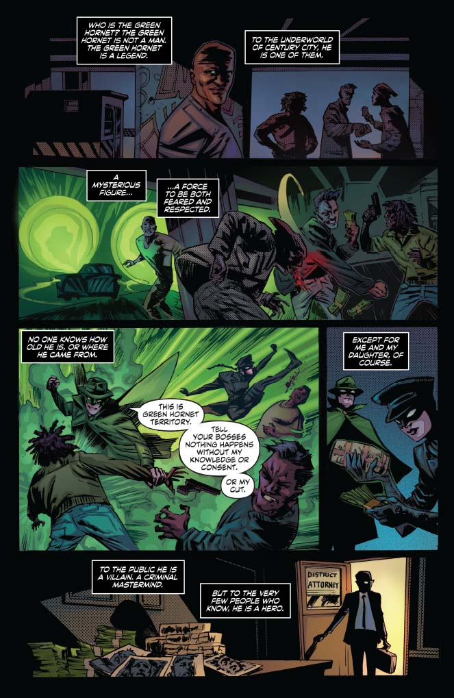 Interior page from 'Green Hornet' #1. German Erramouspe, Brittany Pezzillo, and Tom Napolitano/Dynamite