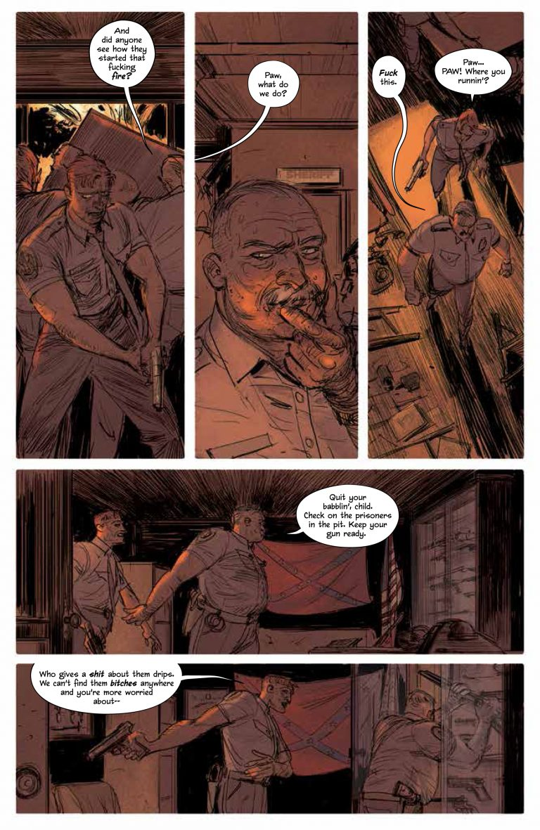 Interior page from 'Redlands' TPB. Art by Vanesa Del Rey, Jordie Bellaire, and Clayton Cowles/Image Comics