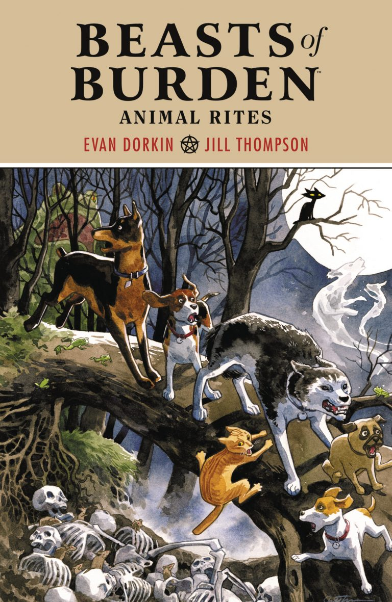 Cover to 'Beasts of Burden: Animal Rites' TPB. Art by Jill Thompson/Dark Horse Comics/Dark Horse Books