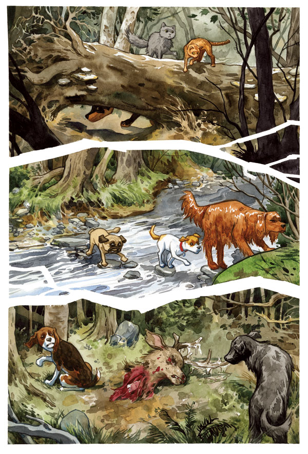 Interior page from 'Beasts of Burden: Animal Rites' TPB. Art by Jill Thompson/Dark Horse Comics/Dark Horse Books