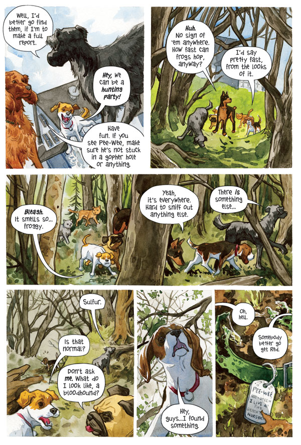 Interior page from 'Beasts of Burden: Animal Rites' TPB. Art by Jill Thompson and Jason Arthur/Dark Horse Comics/Dark Horse Books