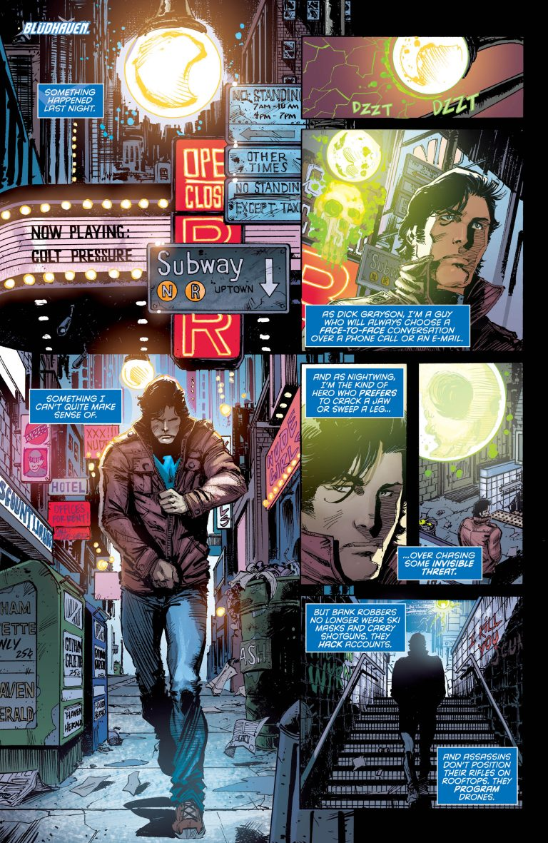Interior page from 'Nightwing' #44. Art by Chris Mooneyham, Nick Filardi, and Carlos M. Mangual/DC Comics