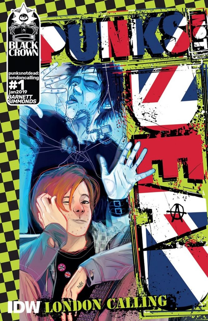 Cover to 'Punks Not Dead: London Calling'. Art by Martin Simmonds/Black Crown/IDW Publishing