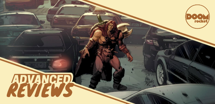 A barbarian is cast into the monotony of modernity in 'Berserker Unbound' #1